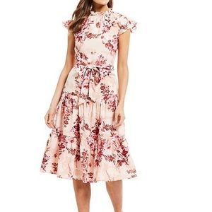 Alex Marie Lyssa Floral Ruffle Mock Neck Dress